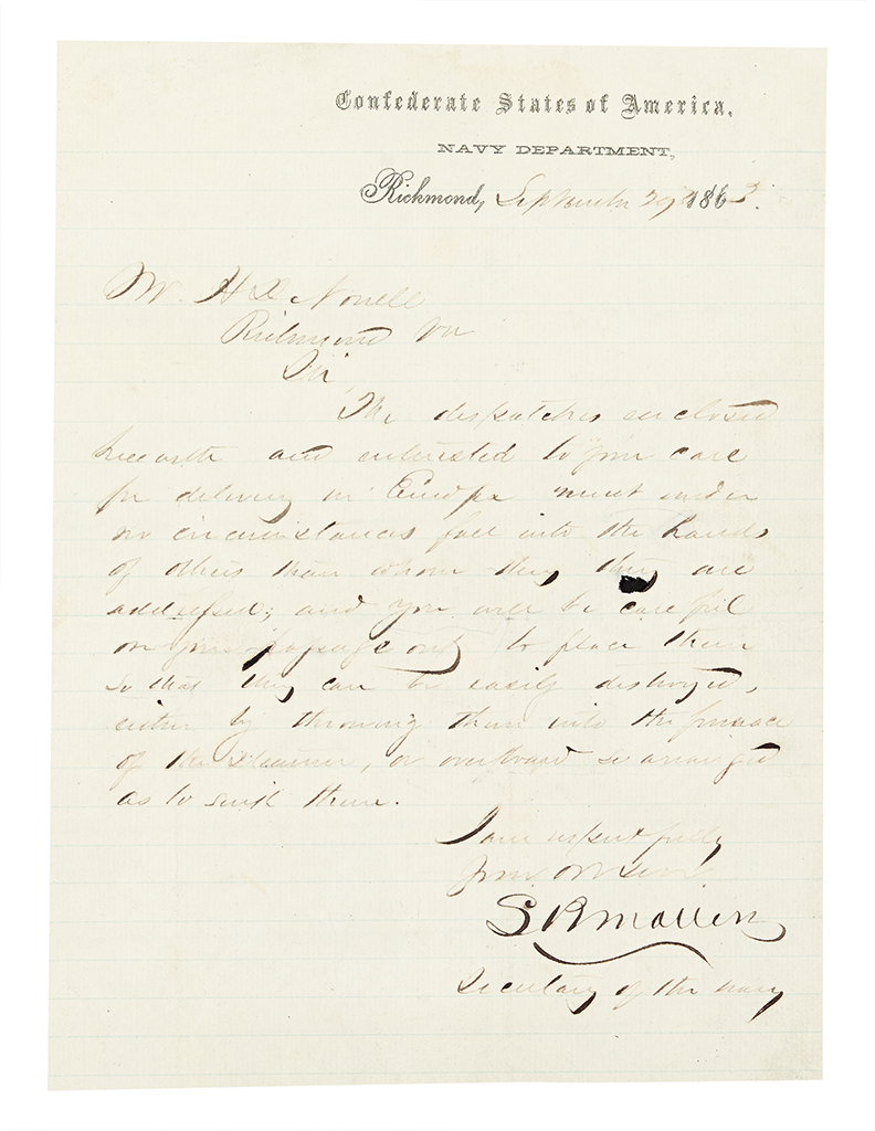 (CIVIL WAR--CONFEDERATE.) Correspondence archive of high-level Confederate courier Hansford D. Norrell.