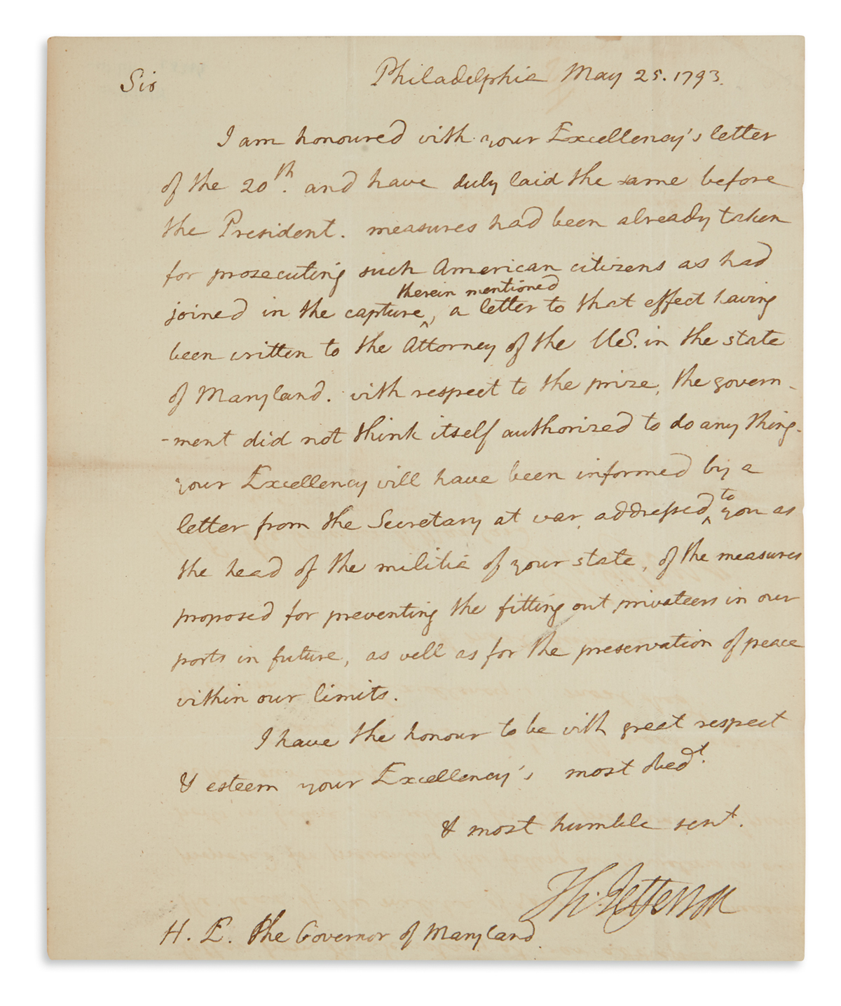 CITIZEN GENÊT AFFAIR: GOVERNMENT . . . [NOT] AUTHORISED TO DO ANY THING THOMAS JEFFERSON. Autograph Letter...