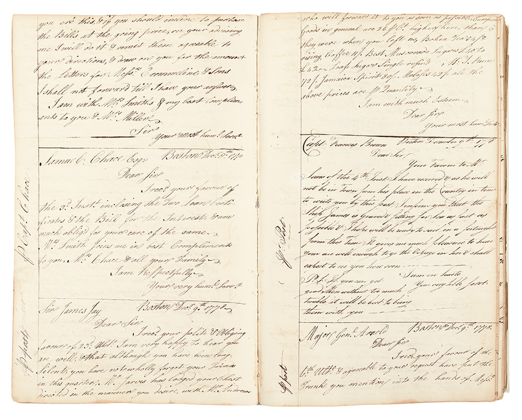 (AMERICAN REVOLUTION--1775.) Smith, Paschal N. Letterbook of a Boston merchant and privateer agent during the Revolution.