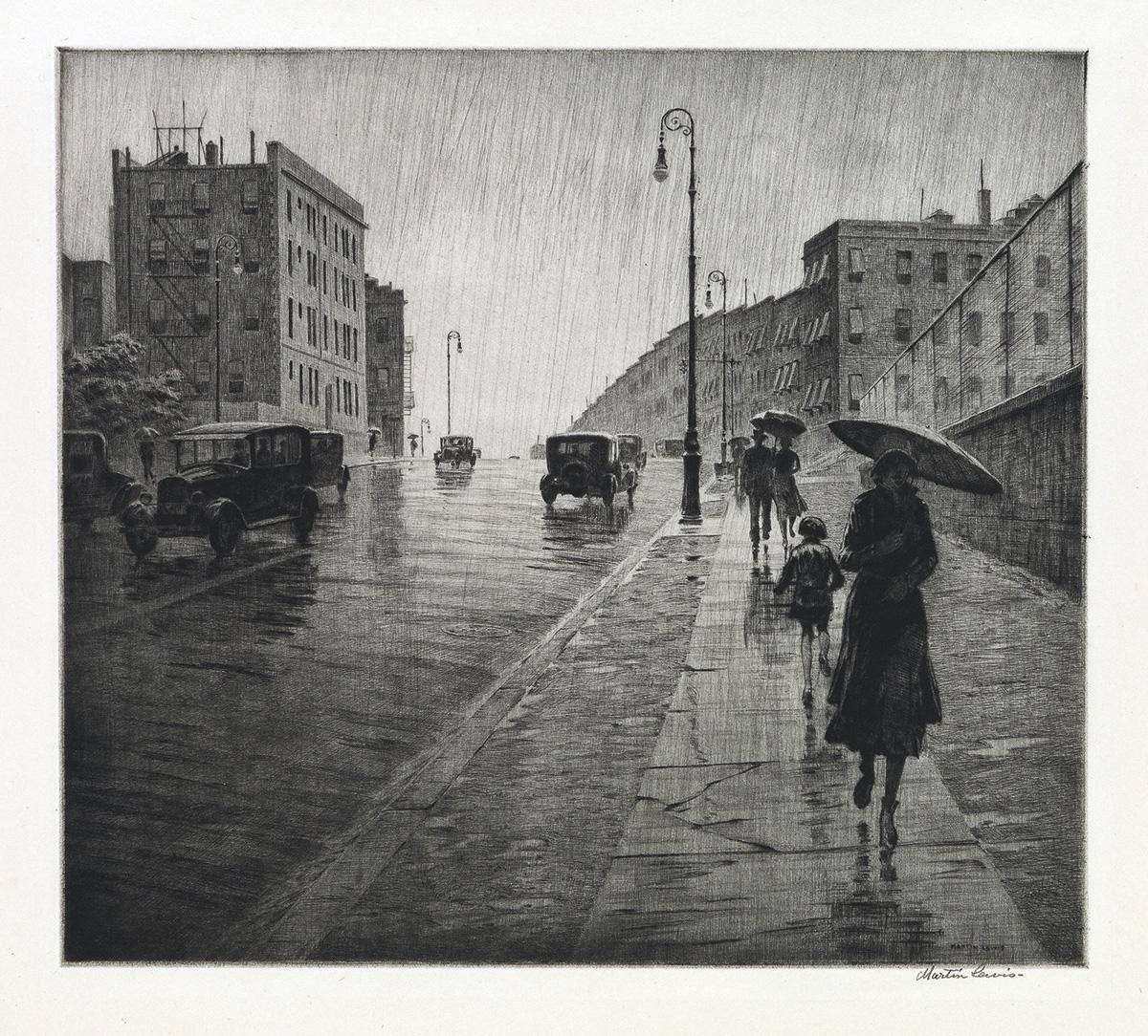 MARTIN LEWIS Rainy Day, Queens.