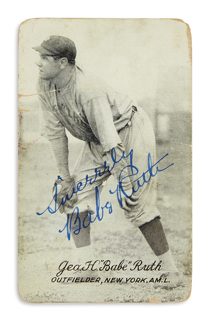 BABE RUTH. Photograph Signed and Inscribed, Sincerely, full-length portrait on a vending machine card showing...