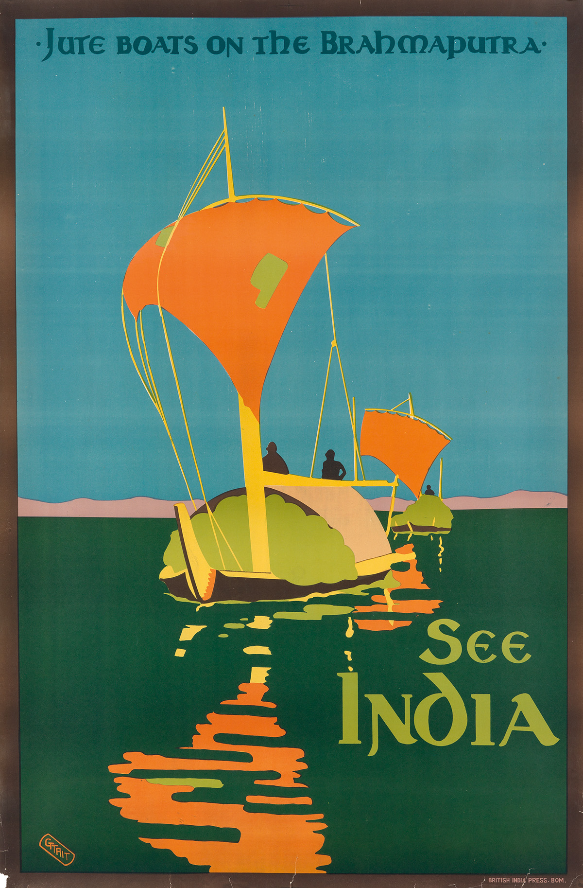 GERALD GEORGE WYNNE TREVREDYN TAIT (1891-1954). SEE INDIA / JUTE BOATS ON THE BRAHMAPUTRA. Circa 1930s. 40x24 inches, 102x63 cm. Britis