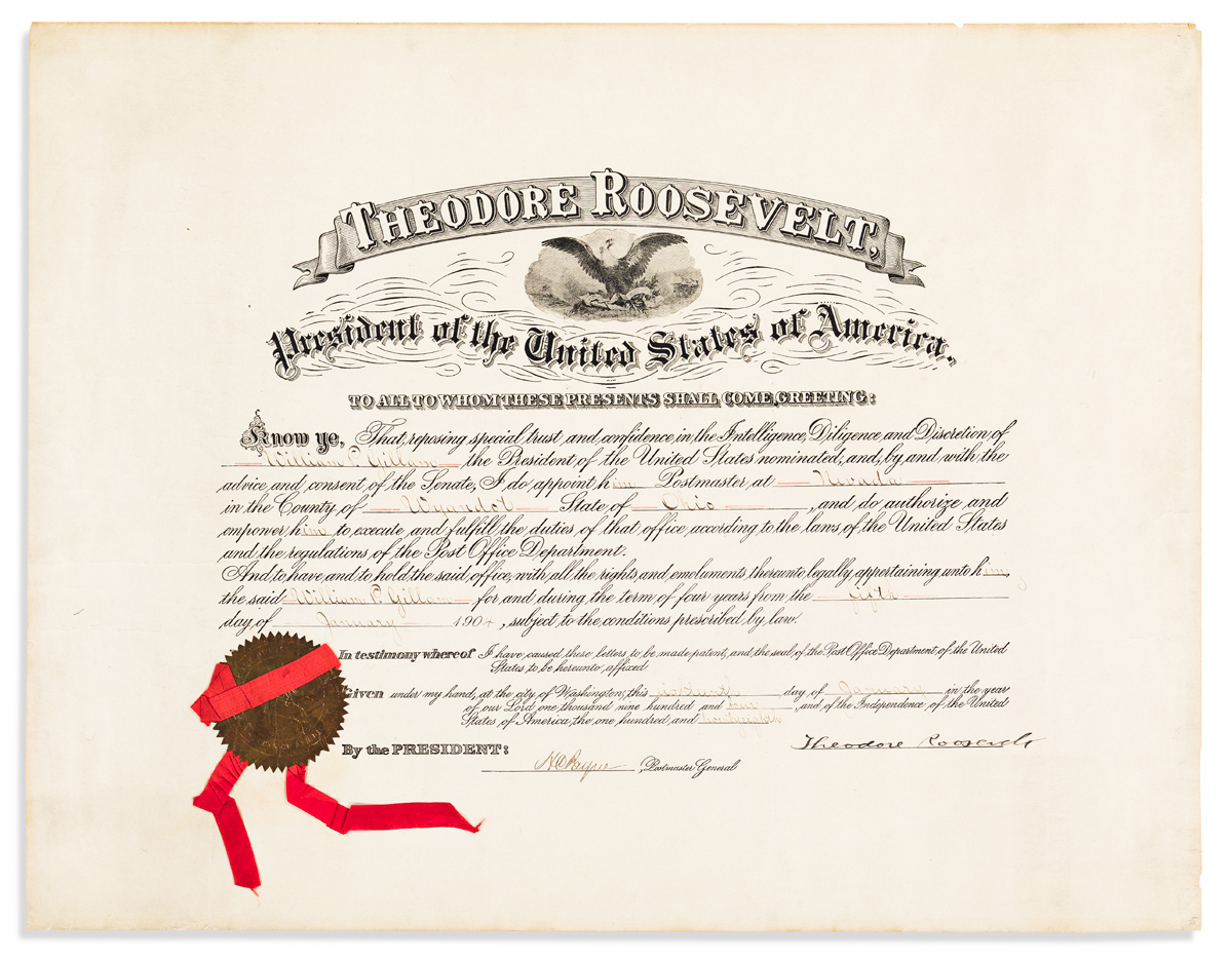 ROOSEVELT, THEODORE. Partly-printed Document Signed, as President,