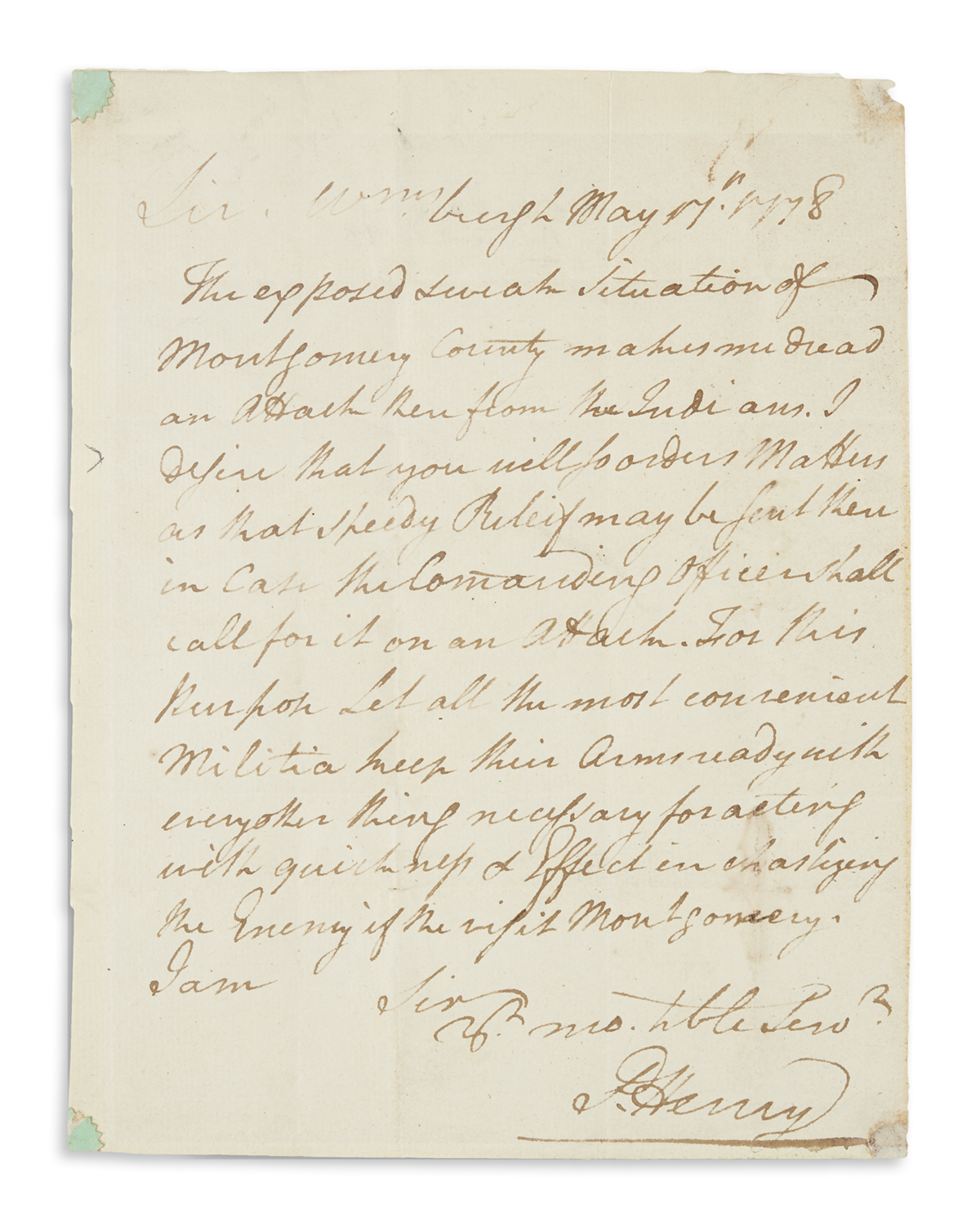HENRY, PATRICK. Autograph Letter Signed, P. Henry, as Governor, to Colonel William Fleming,