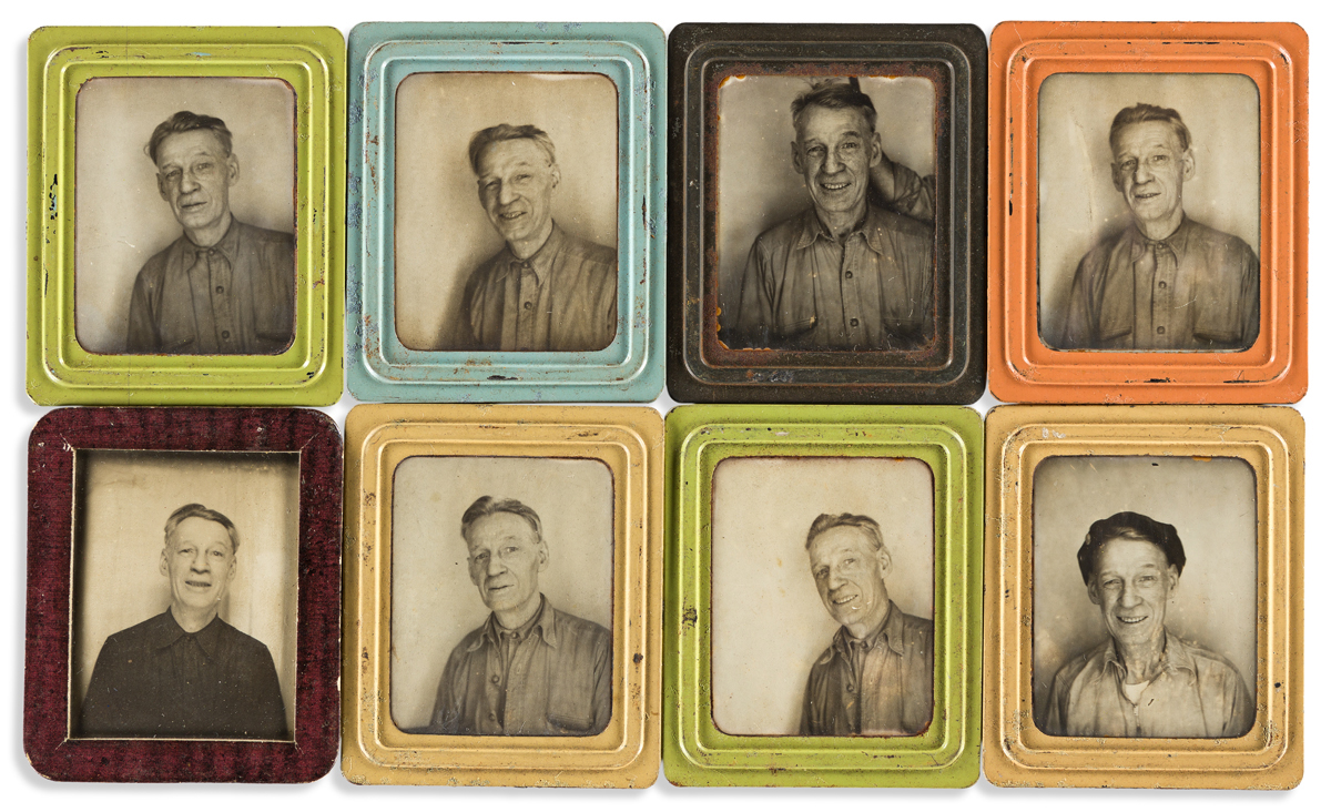 (PHOTOBOOTH SELFIES) A group of approximately 50 Photomatic selfies of the same man taken over a period of time.