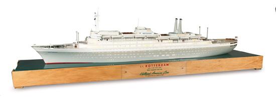 "(HOLLAND-AMERICA LINE.) ""Rotterdam."" Fine travel agency waterline model of the ship,"