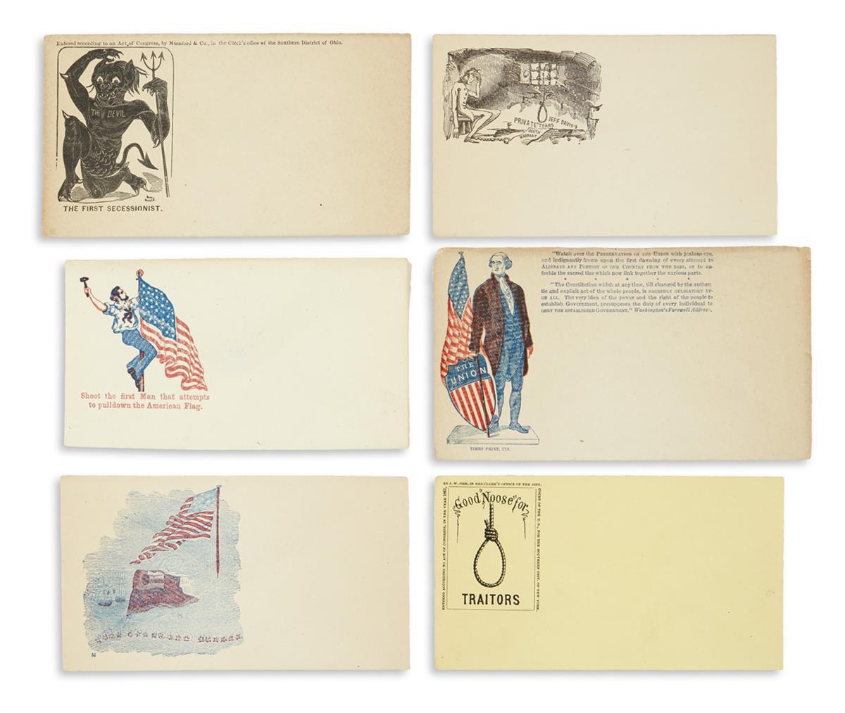 (CIVIL WAR--COVERS.) Large group of unused patriotic covers.