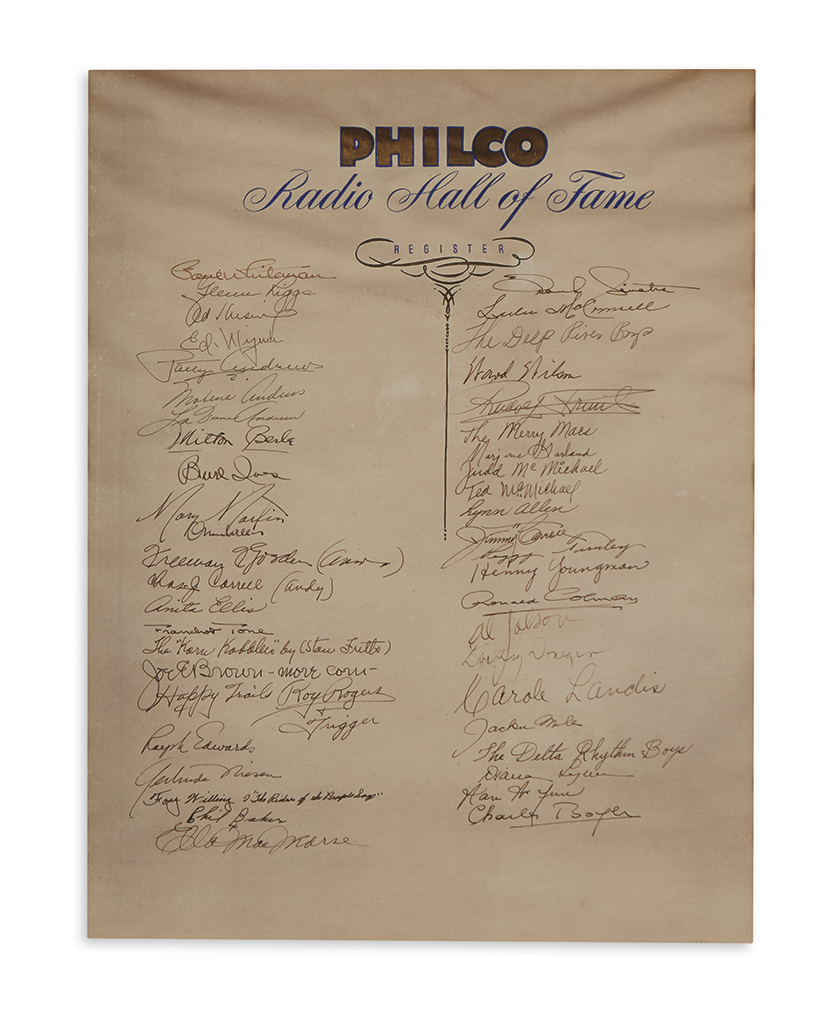 (ENTERTAINERS.) Over 200 signatures written on 5 large sheets with gilt calligraphic headings,