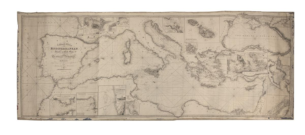 (BLUEBACK CHART.) Norie, J.W. A General Chart of the Mediterranean, Adriatic and Black Seas; Together with the Grecian Archipelago.