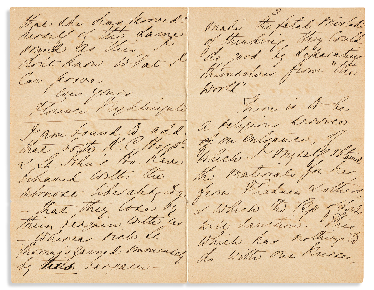 (MEDICINE.) NIGHTINGALE, FLORENCE. Autograph Letter Signed, to My dear Mrs. Fowler [wife of Dr. Richard Fowler?],