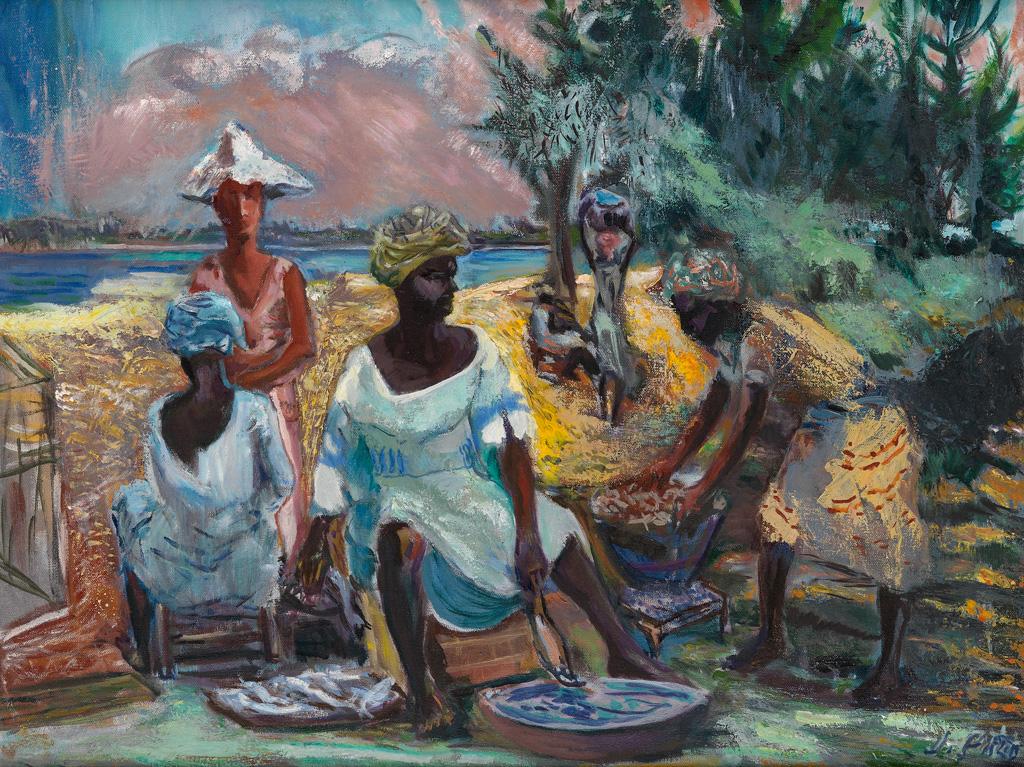 JAMES A. PORTER (1905 - 1970) Fish Vendors at Bar Beach, Lagos.