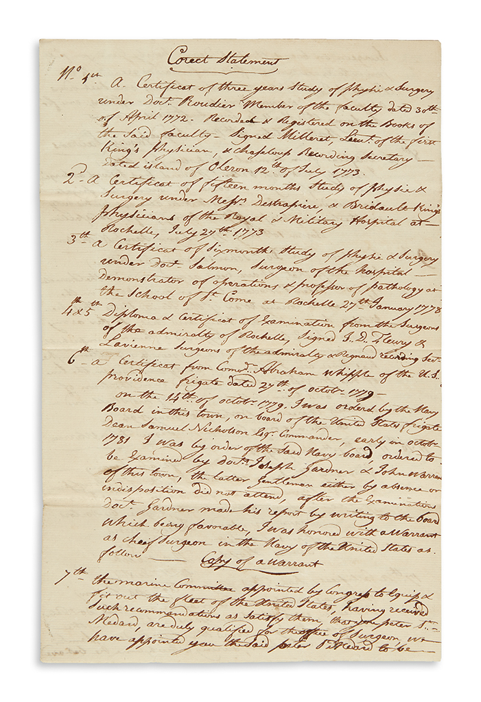 (NAVY.) Papers of early naval surgeon Peter St. Medard, including his diary aboard the frigate New York in the First Barbary War.