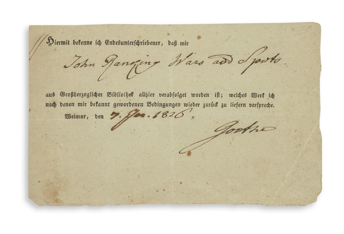 GOETHE-JOHANN-WOLFGANG-Partly-printed-Document-Signed-Goethe