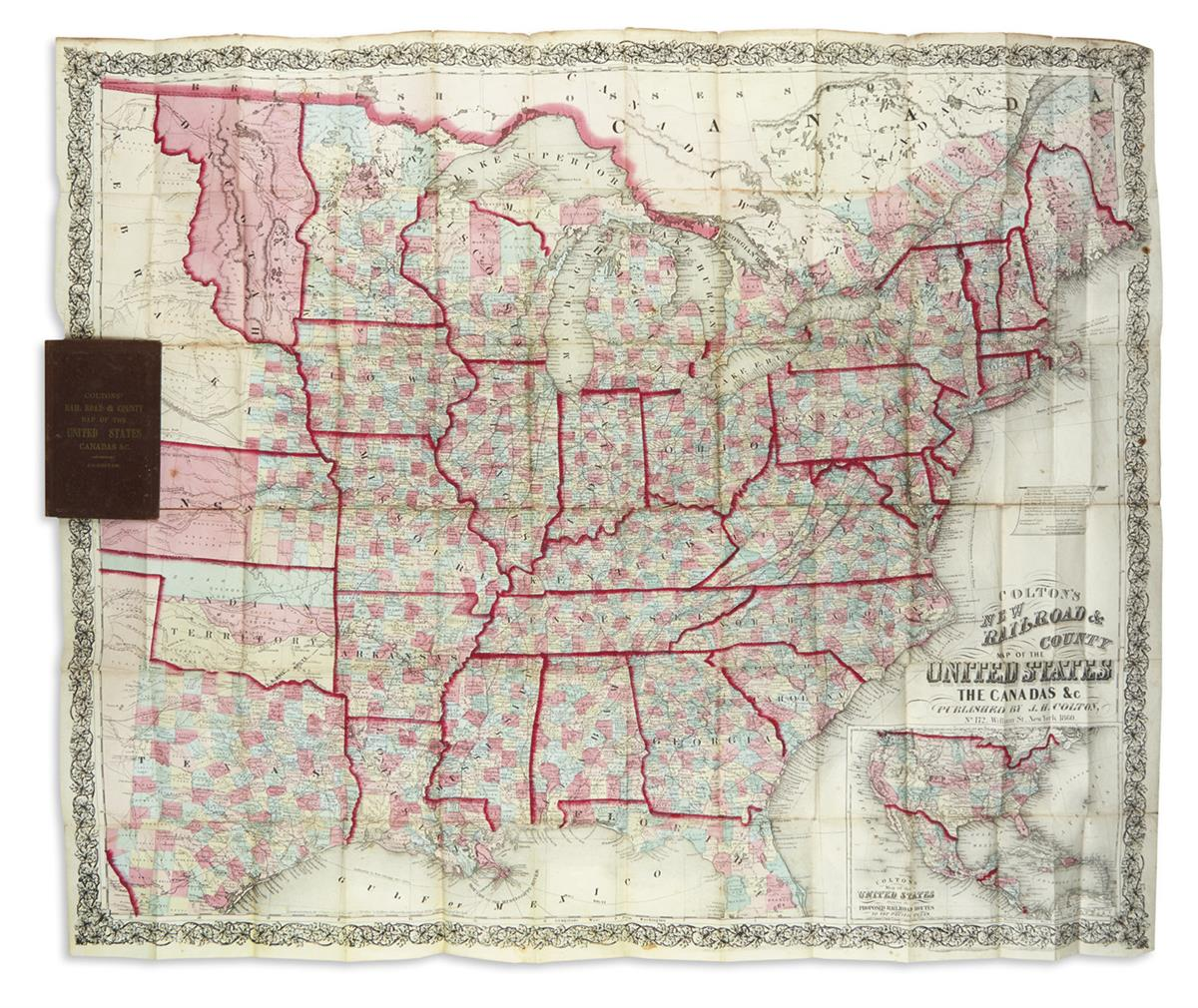 COLTON, JOSEPH HUTCHINS. Coltons New Rail Road & County Map of the United States, the Canadas &c.