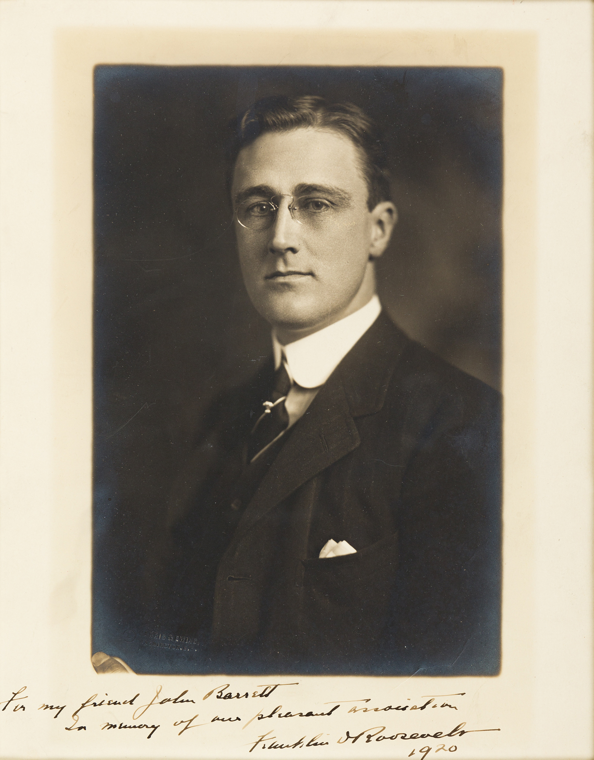 ROOSEVELT, FRANKLIN D. Photograph Signed and Inscribed, For my friend John Barrett / In memory of our pleasant association,