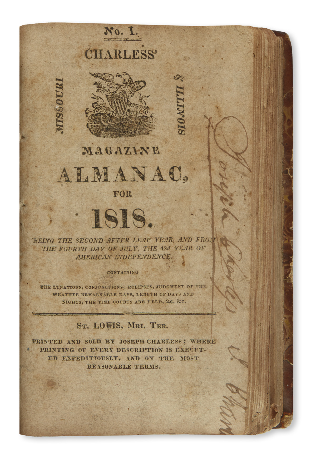 (ALMANACS)-Volume-of-early-St-Louis-and-Pittsburgh-almanacs-including-the-first-one-issued-in-St-Louis