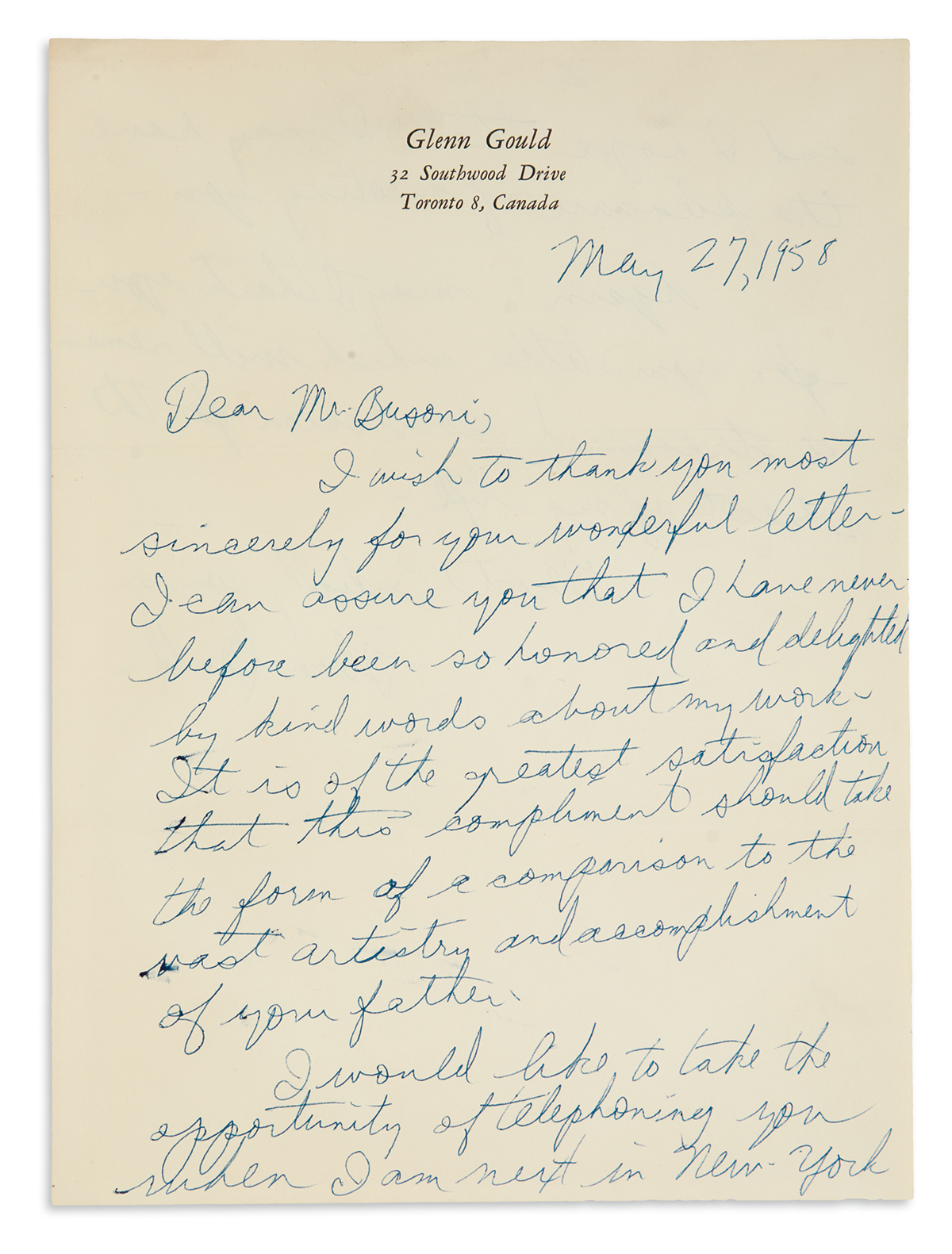 GOULD, GLENN. Autograph Letter Signed, to the son of composer Ferruccio Busoni, Rafaello,