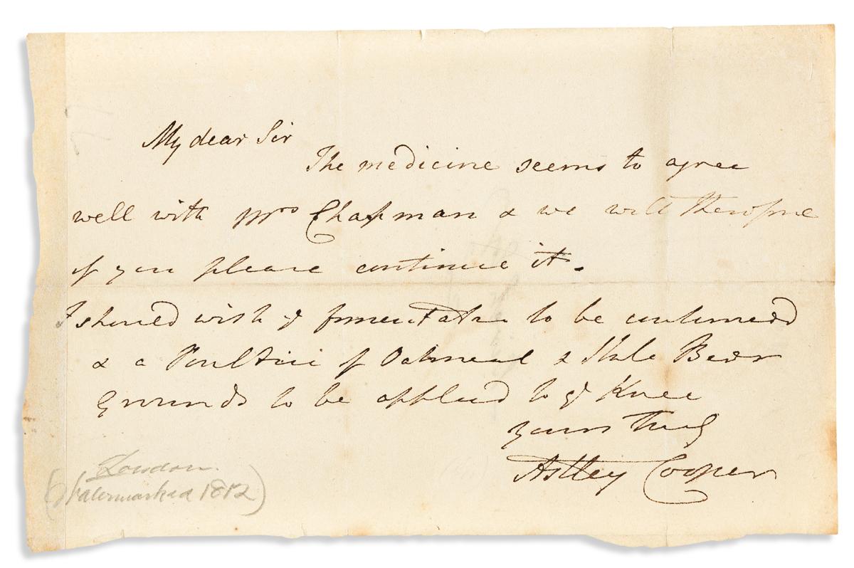 (MEDICINE.) COOPER, ASTLEY. Autograph Letter Signed, to Mr. Birch,