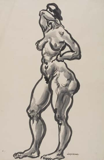 JOSEPH-DELANEY-(1904---1981)-Standing-Nude-Covering-Face