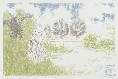 KER-XAVIER ROUSSEL Paysage avec femme en robe a rayures.