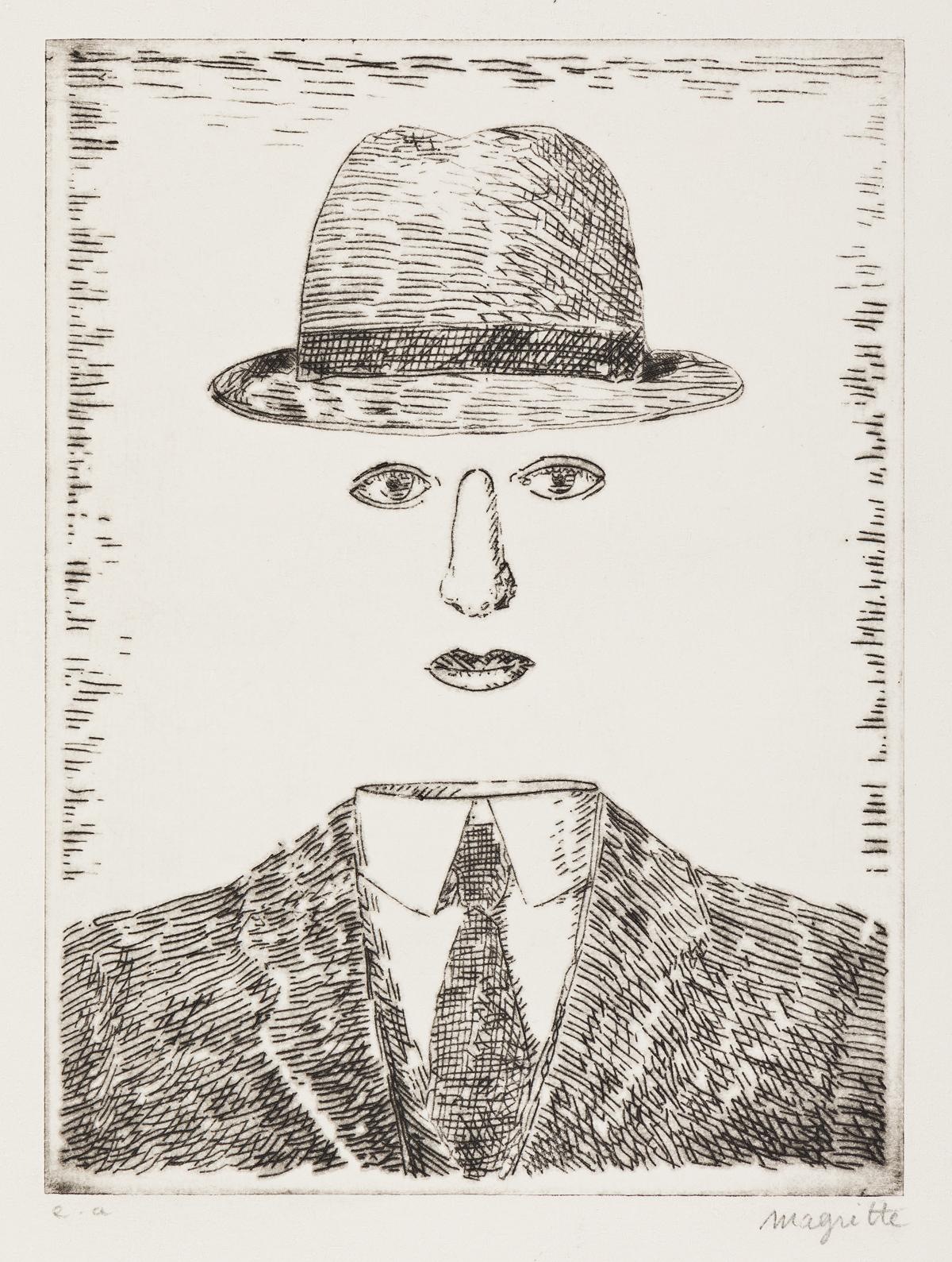 RENÉ MAGRITTE Paysage de Baucis (Self Portrait with a Hat).