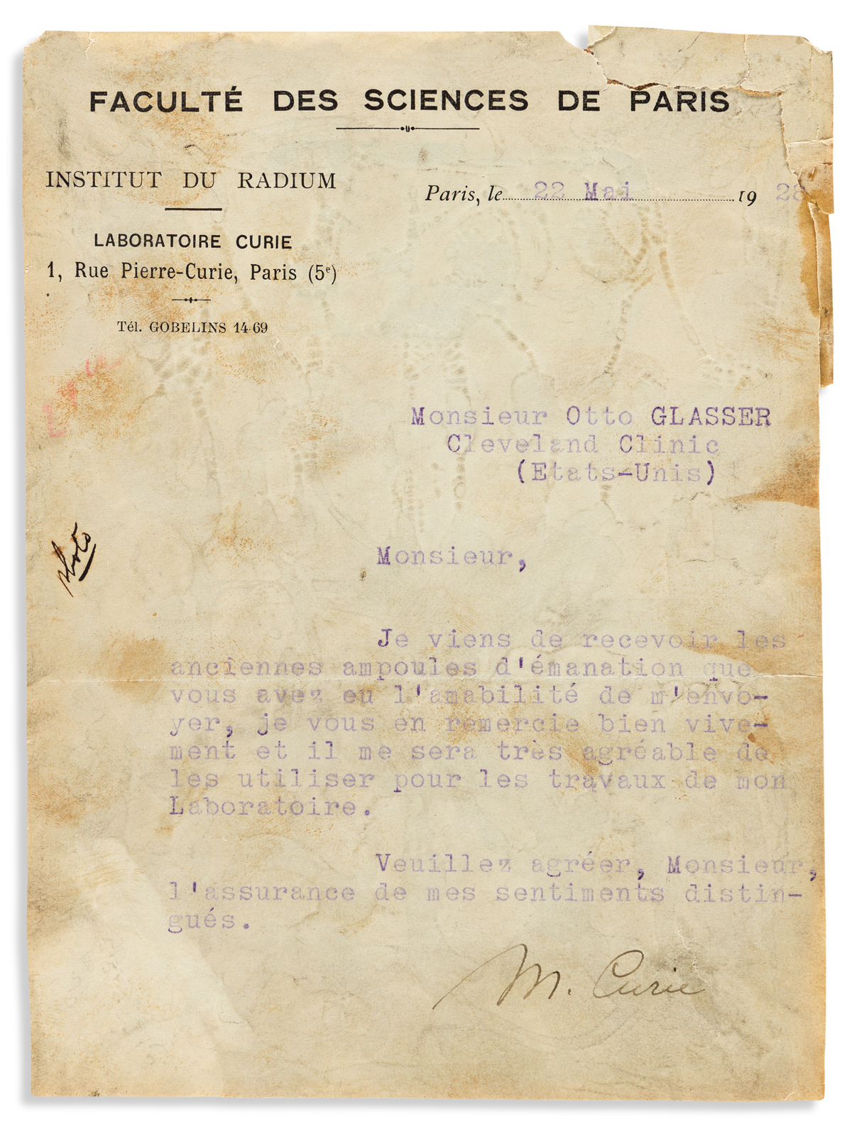 (MEDICINE.) CURIE, MARIE. Brief Typed Letter Signed, M. Curie, to Otto Glasser in Cleveland, in French: