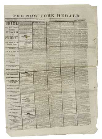 (SLAVERY AND ABOLITION--LINCOLN, ABRAHAM.) New York Herald. April 16, 1865. Our Loss. The Great National Calamity. Death of the Preside