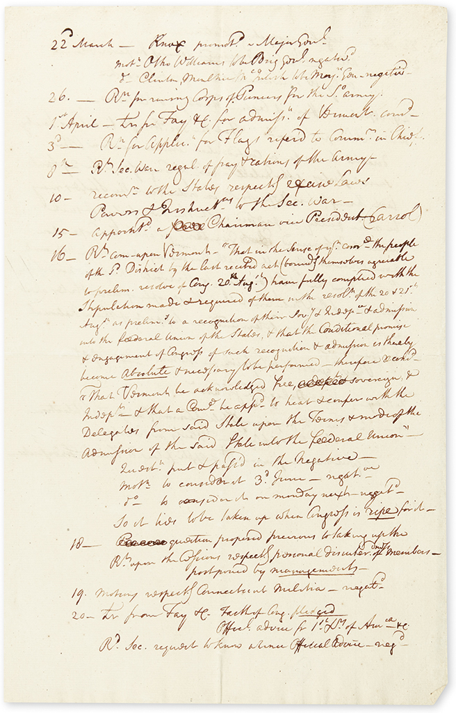 (AMERICAN REVOLUTION--1782.) [Middleton, Arthur.] His personal notes from Congress on Vermont statehood and other topics.