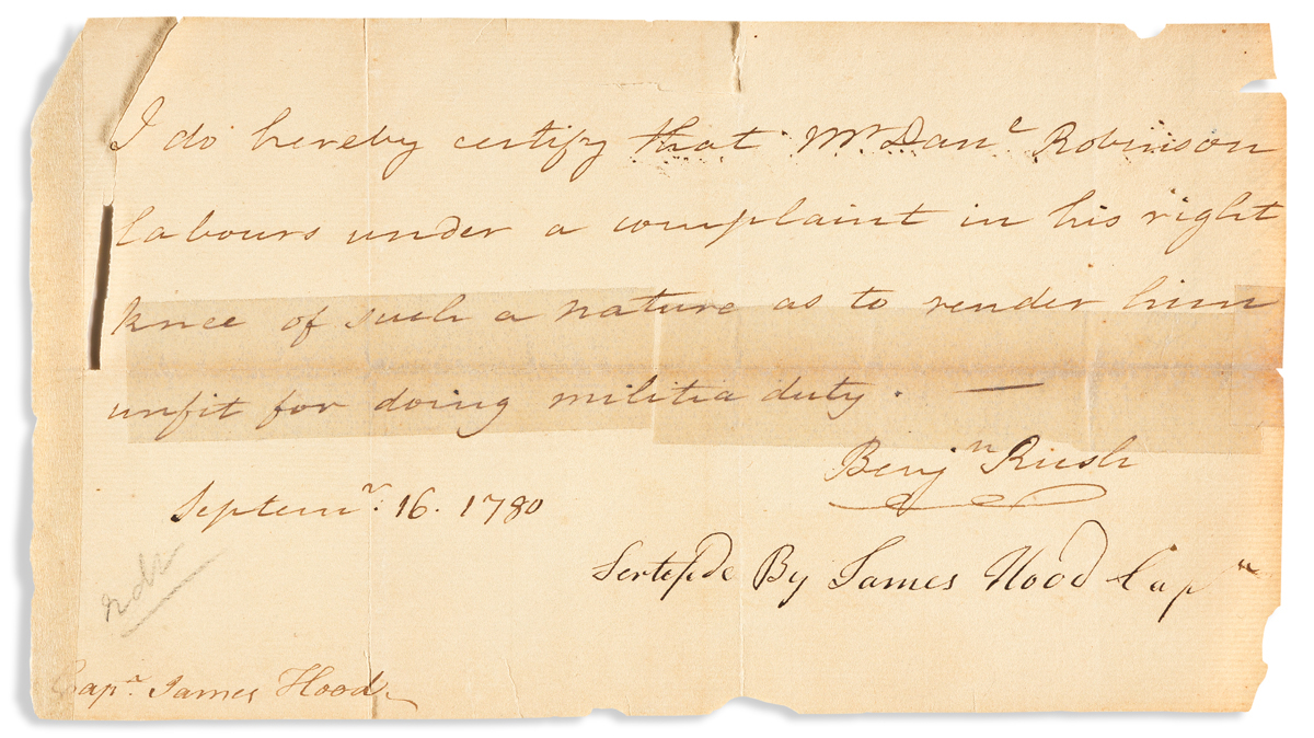 (AMERICAN REVOLUTION.) RUSH, BENJAMIN. Brief Autograph Letter Signed, Benjn Rush, to Captain James Hood: