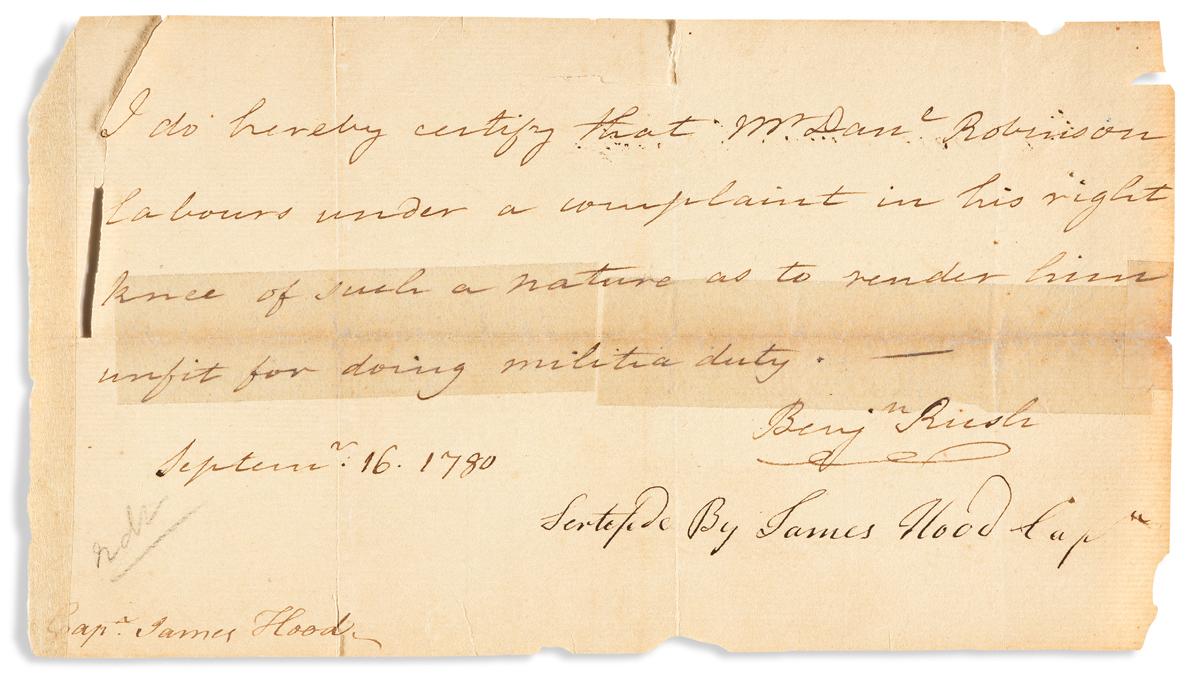 (AMERICAN REVOLUTION.) RUSH, BENJAMIN. Brief Autograph Letter Signed, Benjn Rush, to Captain James Hood: