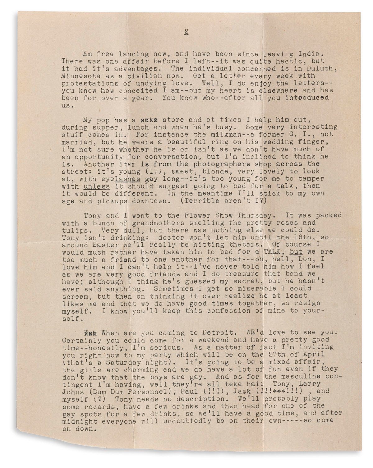Papers of a gay Wisconsin man, including letters from fellow gay World War Two veterans across the country.