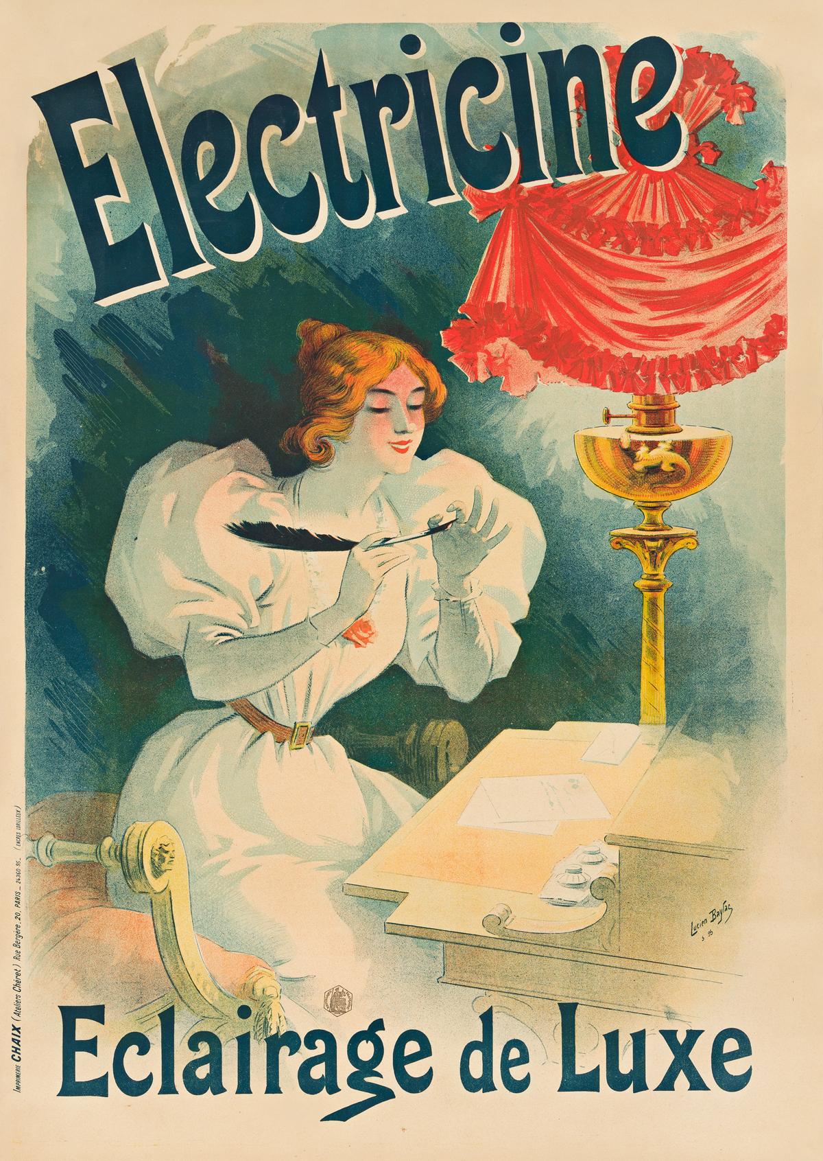 LUCIEN BAYLAC (1851-1913).  ELECTRICINE / ECLAIRAGE DE LUXE. 1895. 48x34 inches, 123x87 cm. Chaix, Paris.