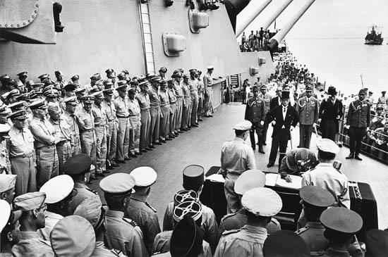 MYDANS, CARL (1907-2004) Japanese Surrender, USS Missouri, Tokyo Bay.