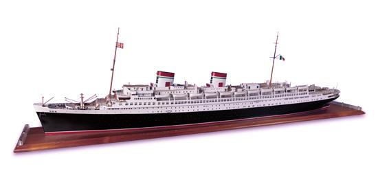 """(ITALIAN LINE.) """"Rex."""" Travel agency waterline model of the ship,"""
