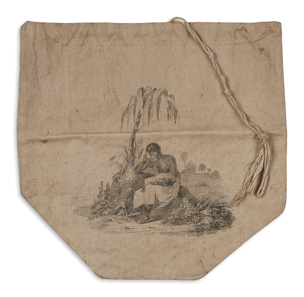 (SLAVERY AND ABOLITION.) Linen abolitionist handbag in support of the Negro Woman who sittest pining in captivity.