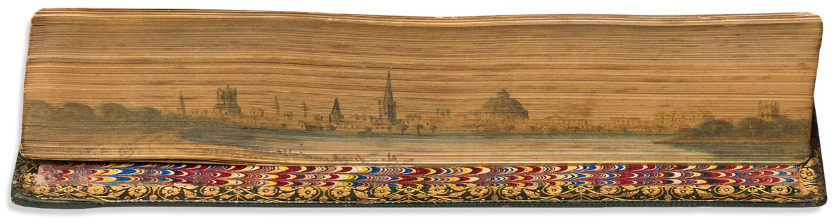 (FORE-EDGE PAINTING.) Tennyson, Alred. Poems.
