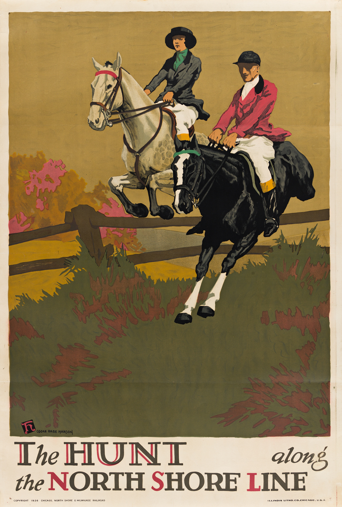 OSCAR RABE HANSON (1901-1926).  THE HUNT ALONG THE NORTH SHORE LINE. 1926. 42x28 inches, 106x71 cm. Illinois Litho. Co., Chicago.