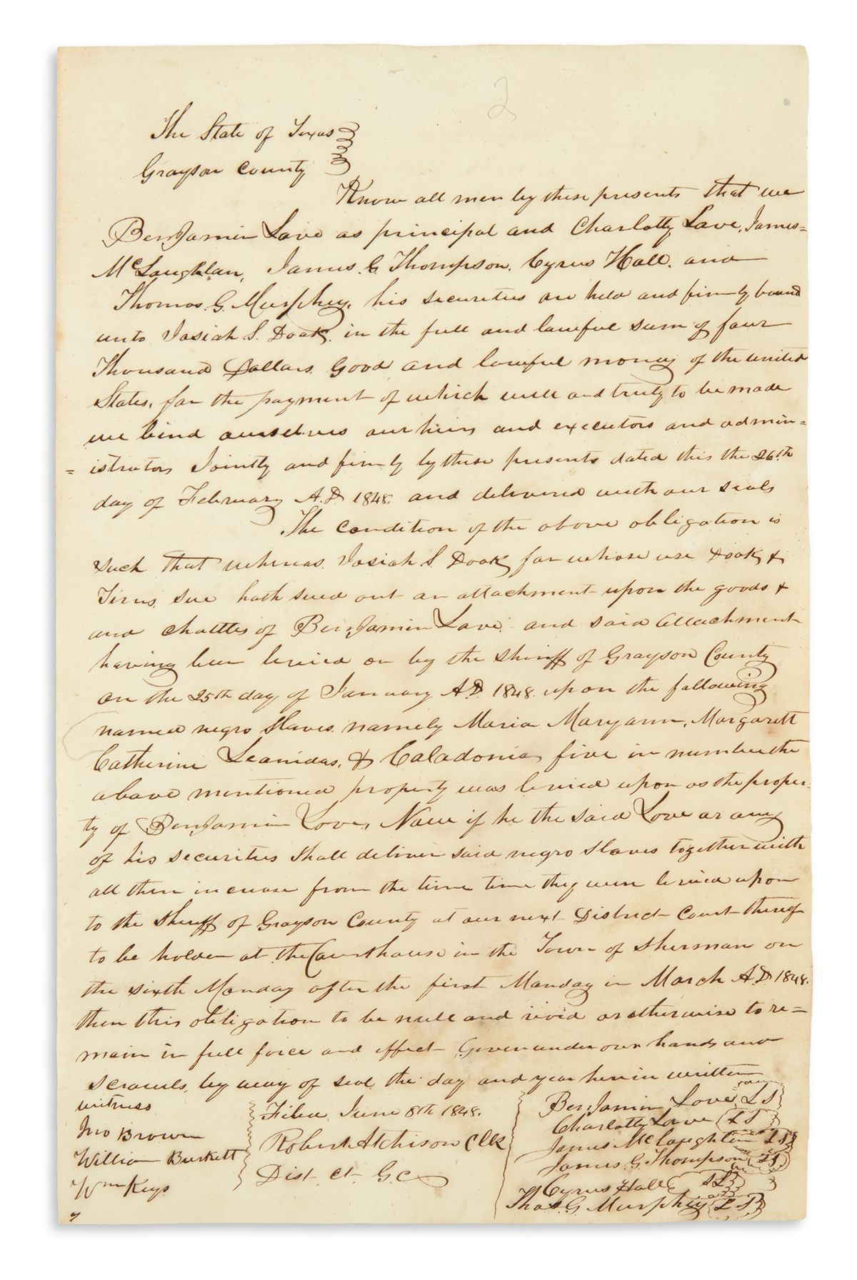 (SLAVERY AND ABOLITION.) Legal case file involving 5 slaves sold between American Indians in Texas.
