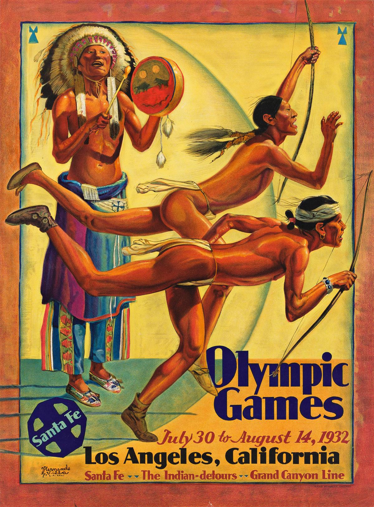 HERNANDO GONZALLO VILLA (1881-1952).  OLYMPIC GAMES / LOS ANGELES, CALIFORNIA / SANTA FE. 1932. 26½x19½ inches, 67¼x49¼ cm. Rand McNall