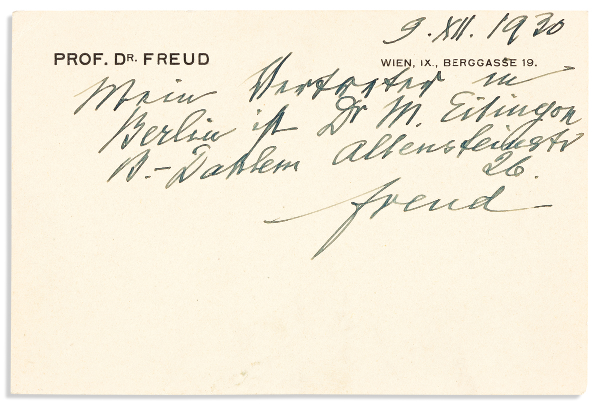 (MEDICINE.) FREUD, SIGMUND. Autograph Note Signed, Freud, to an unnamed recipient, in German: