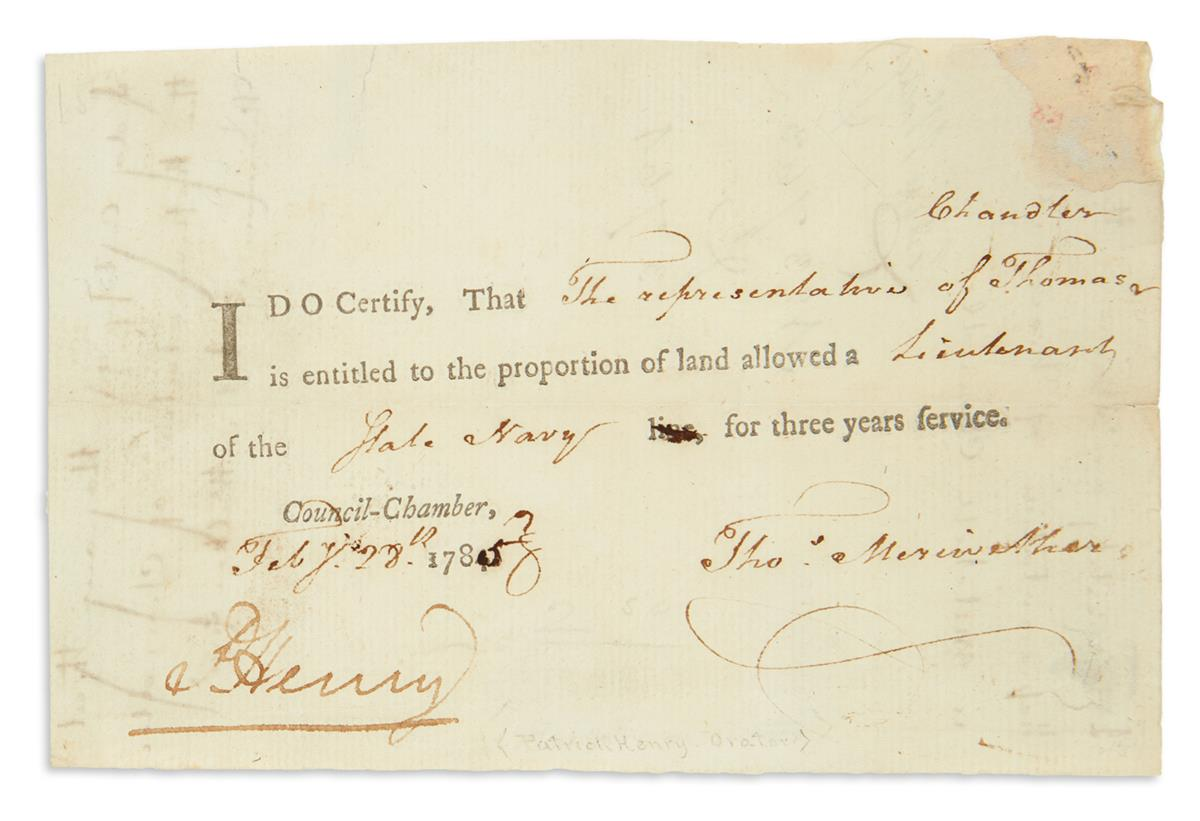 HENRY-PATRICK-Partly-printed-Document-Signed-PHenry-as-Gover