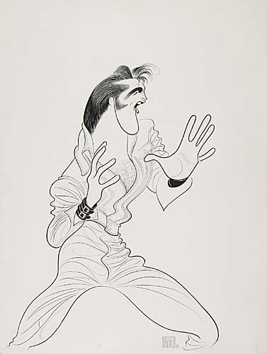 Elvis Presley. Pen and Ink on board. 28x22 inches. Signed lower right. 1968.