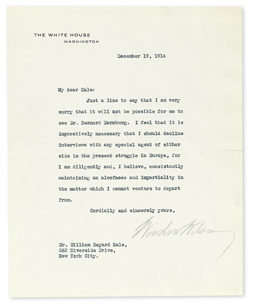 WILSON, WOODROW. Typed Letter Signed, as President, to William Bayard Hale,
