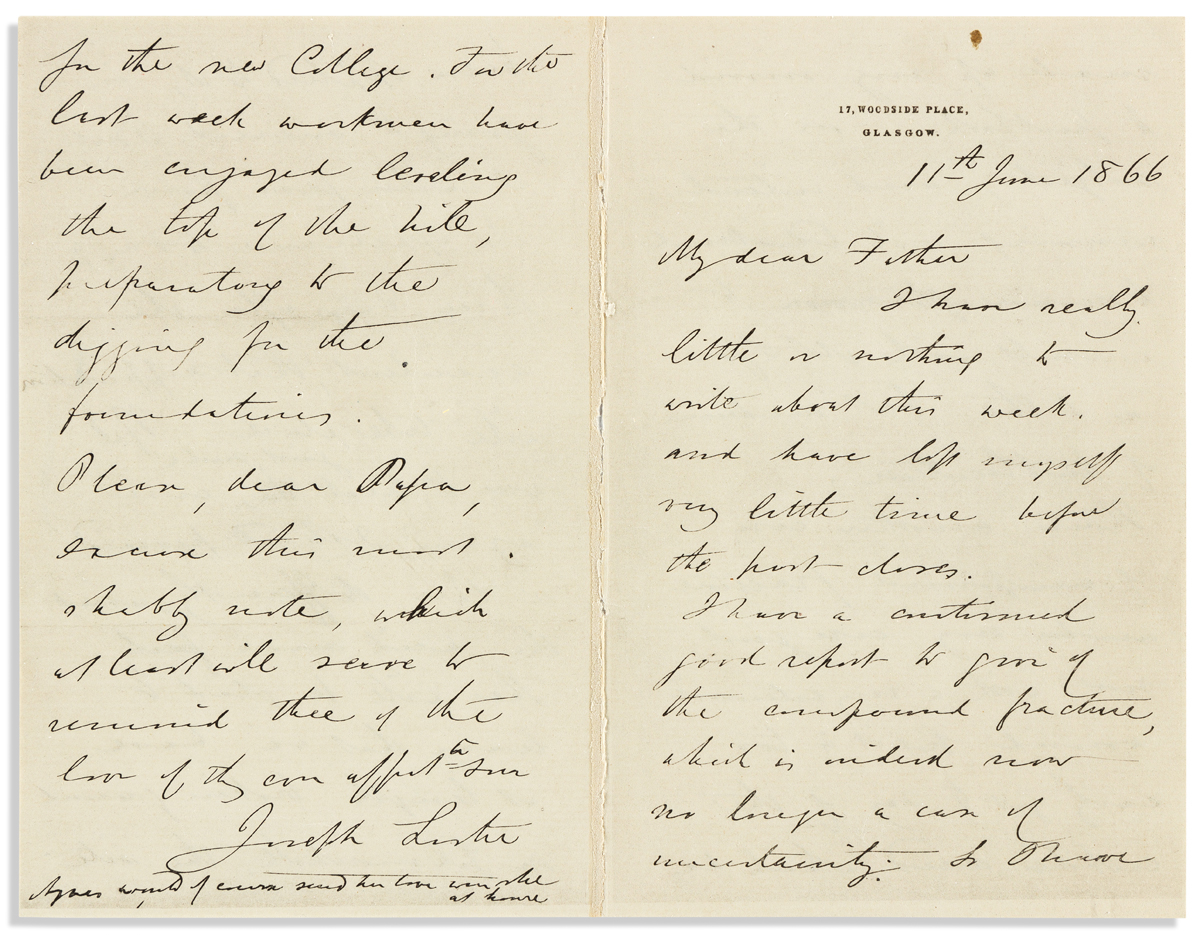 (MEDICINE.) LISTER, JOSEPH. Autograph Letter Signed, to My dear Father,