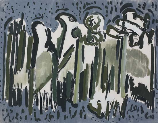 BEAUFORD DELANEY (1901 - 1979) Untitled (Grey and Green Abstraction).