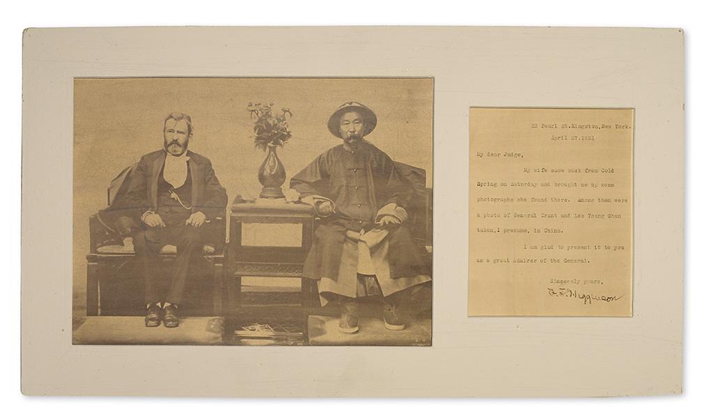 (CHINA.) Shitai, Liang (also known as See Tay); photographer. Photograph of Ulysses S. Grant and the Chinese general Li Hongzhang.