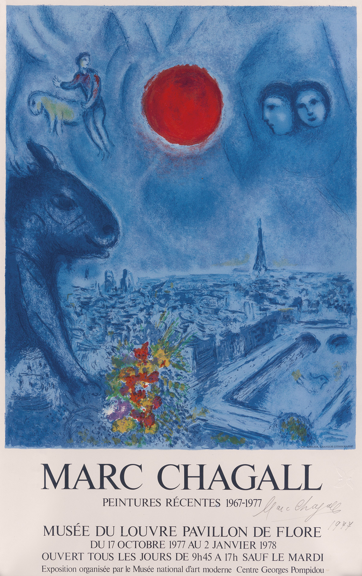 DAPRÈS MARC CHAGALL (1887-1985). MARC CHAGALL / PEINTURES RÉCENTES. 1978. 29x18 inches, 75x47 cm. Ch. Sorlier, Paris.