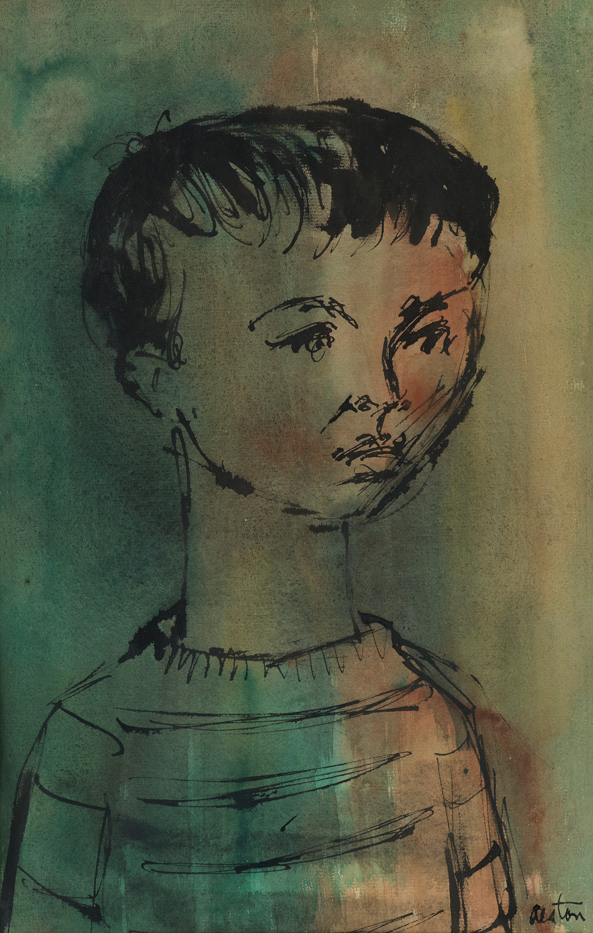 CHARLES ALSTON (1907 - 1977) Untitled (Portrait of a Young Boy).