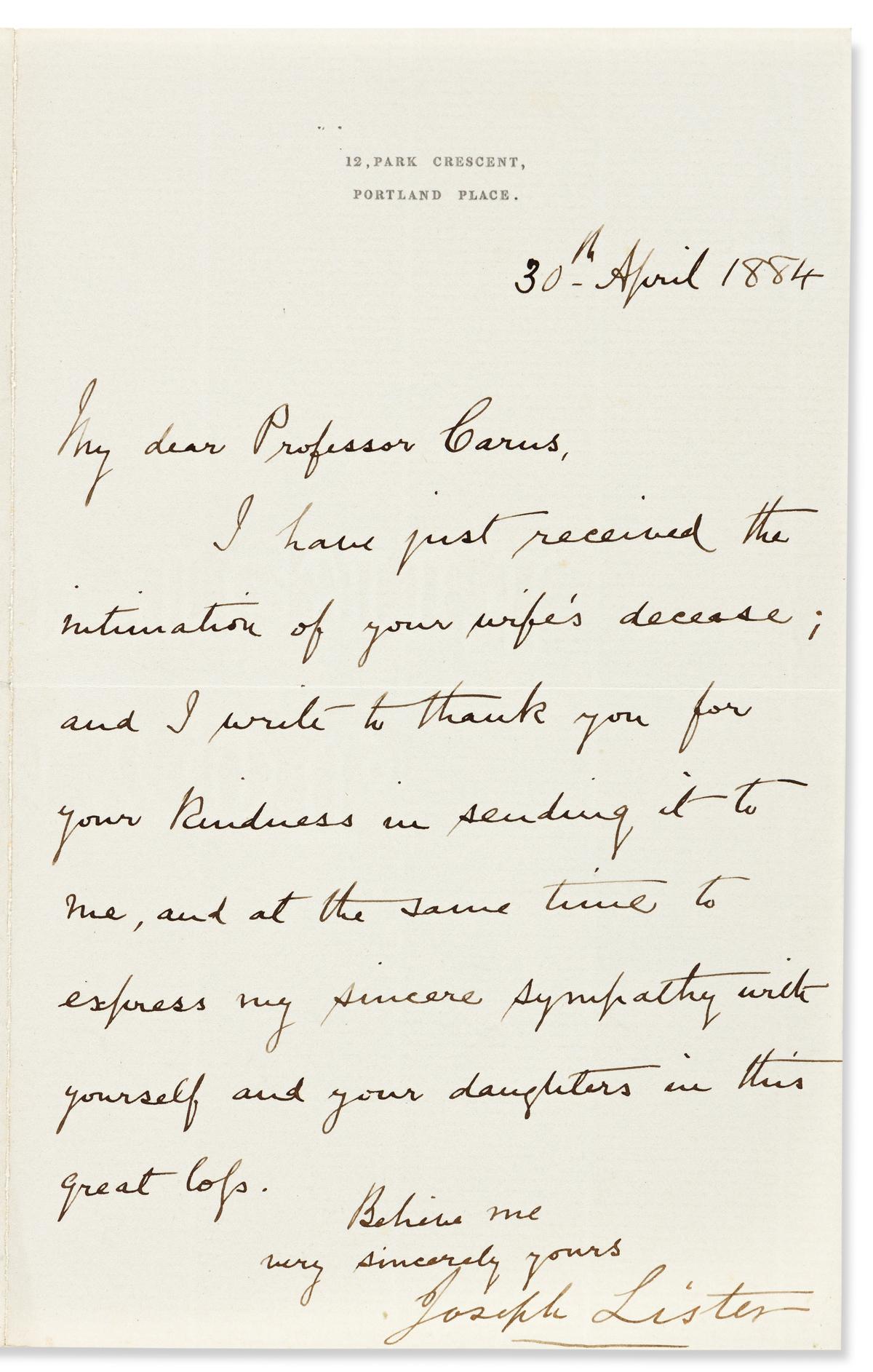 (MEDICINE.) LISTER, JOSEPH. Letter Signed, to anatomist Julius Victor Carus (My dear Professor Carus),