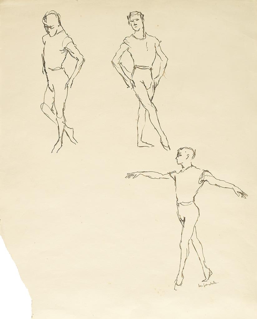 MAURICE SENDAK. Study of three male dancers.